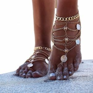 NWT Set of Two Boho Gold Chain Coin Anklets Ankle